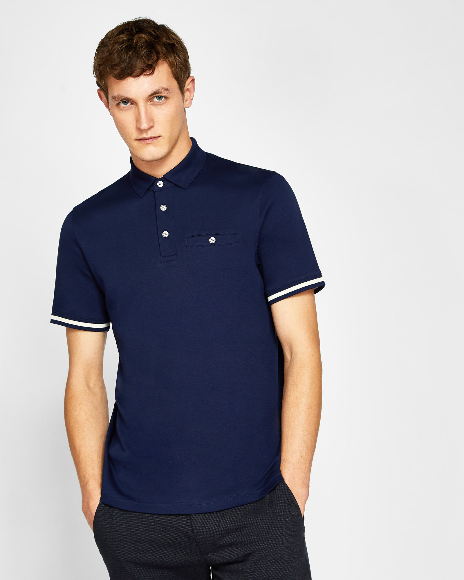 84aeeeced124a4 Ted Baker Stripe cuff polo shirt Navy | Products | Mens tops ...