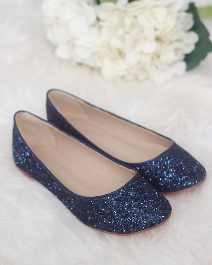 NAVY Rock Glitter Slip on Flats  bebê