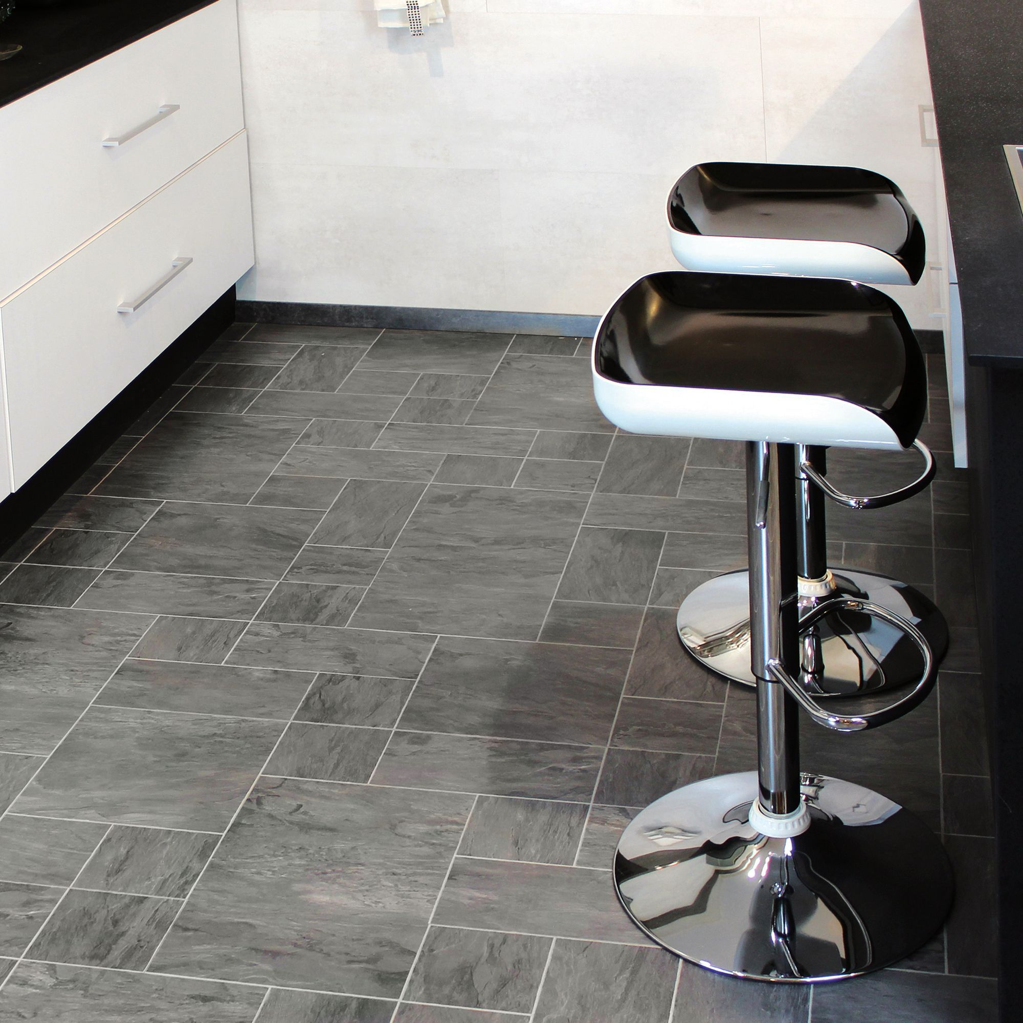 Colours Libretto Black Slate Tile Effect Laminate Flooring 1.86m² ...