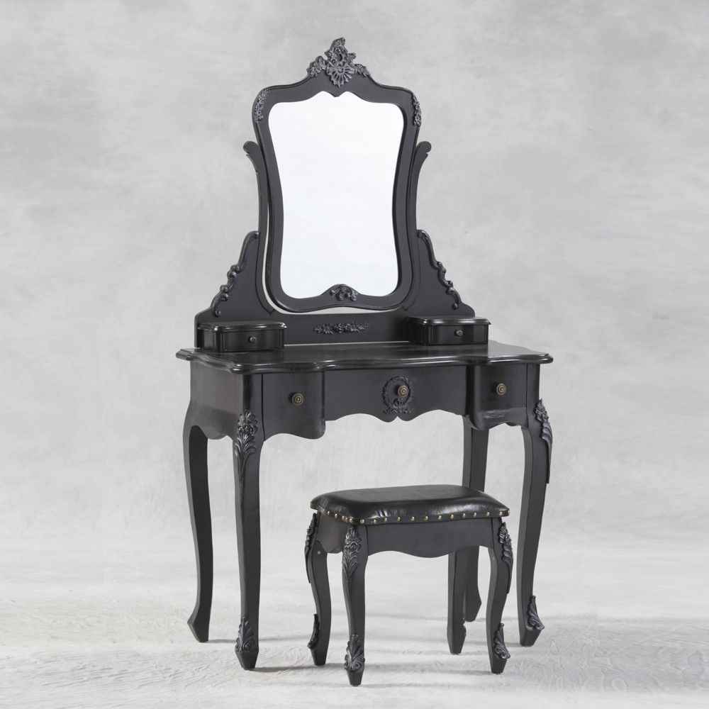 French Black Dressing Table And Mirror Set : Beau Decor