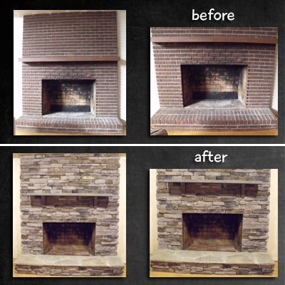 Superbe Fireplace Remodel   Stone Veneer Over Brick. I Donu0027t Like The Mantle, But  The Stone Veneer Is Awesome Over The Ugly Brick.