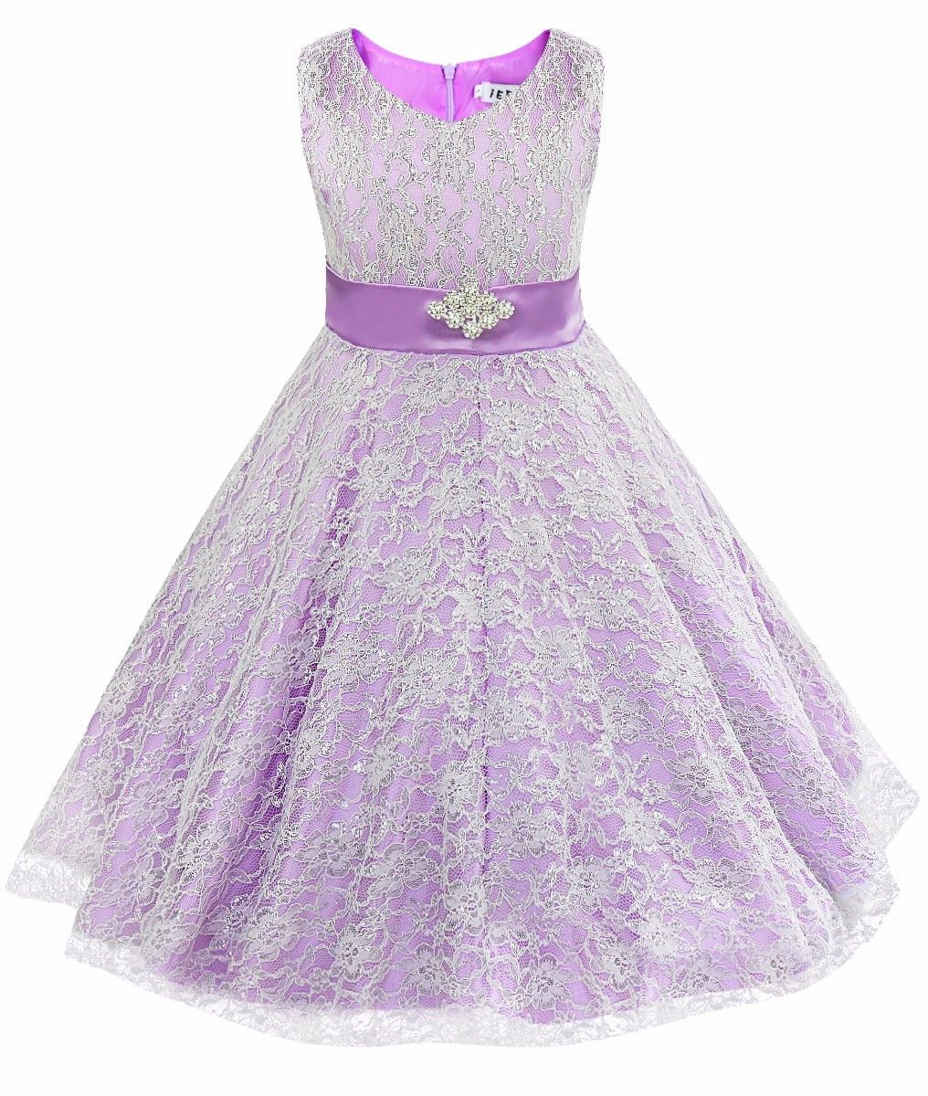 b25acb7d227 iEFiEL Purple Kids Girls Floral Lace Dress Flower Girl Dress Ball Gown Prom…