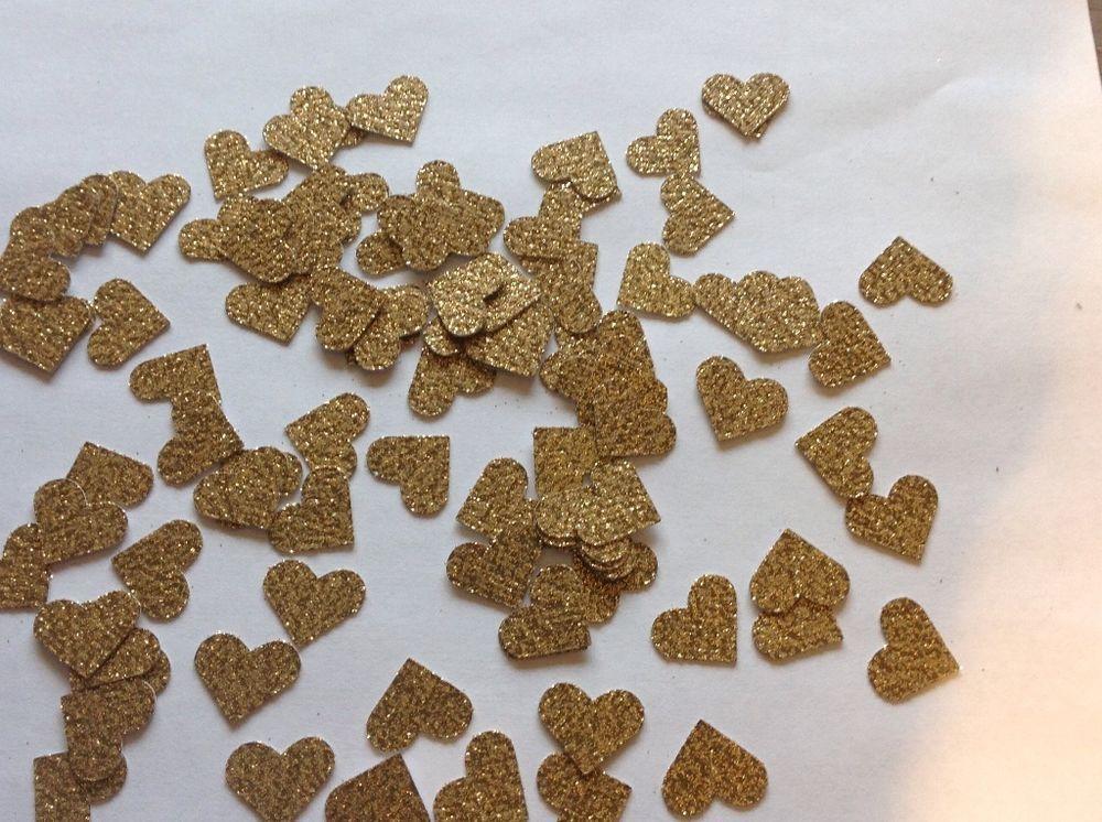 Gold Glitter Heart Confetti, Wedding Table Decoration, Valentines Day Decoration in Confetti | eBay