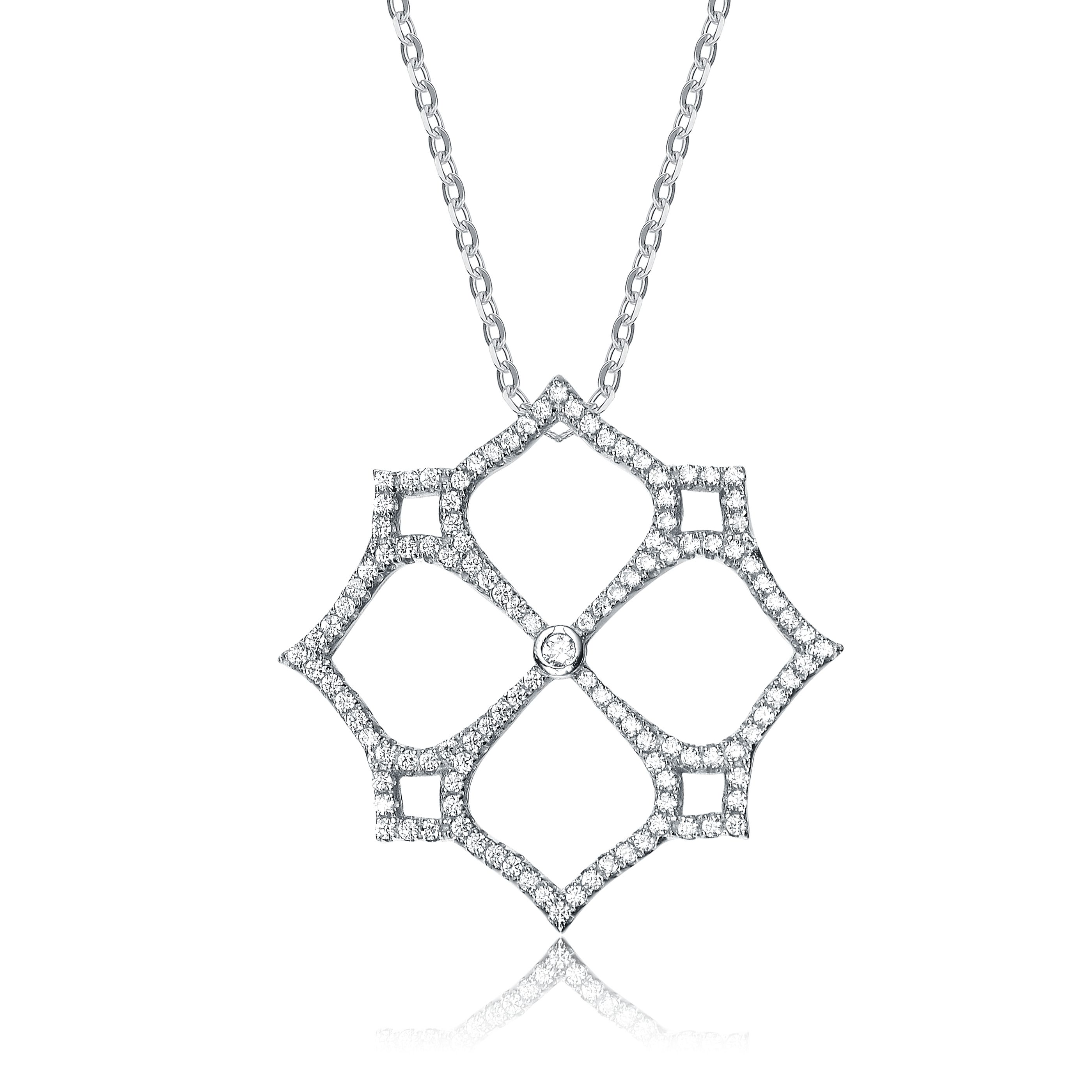 Collette Z Sterling Silver Pave-set Cubic Zirconia Cutout Necklace