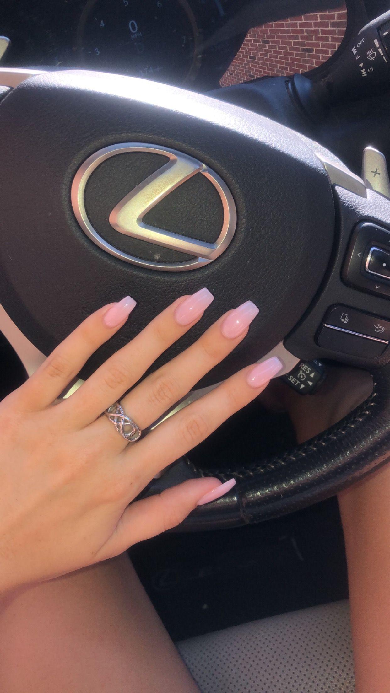 Sheer Pink In 2020 Sheer Nails Baby Pink Nails Square Acrylic Nails