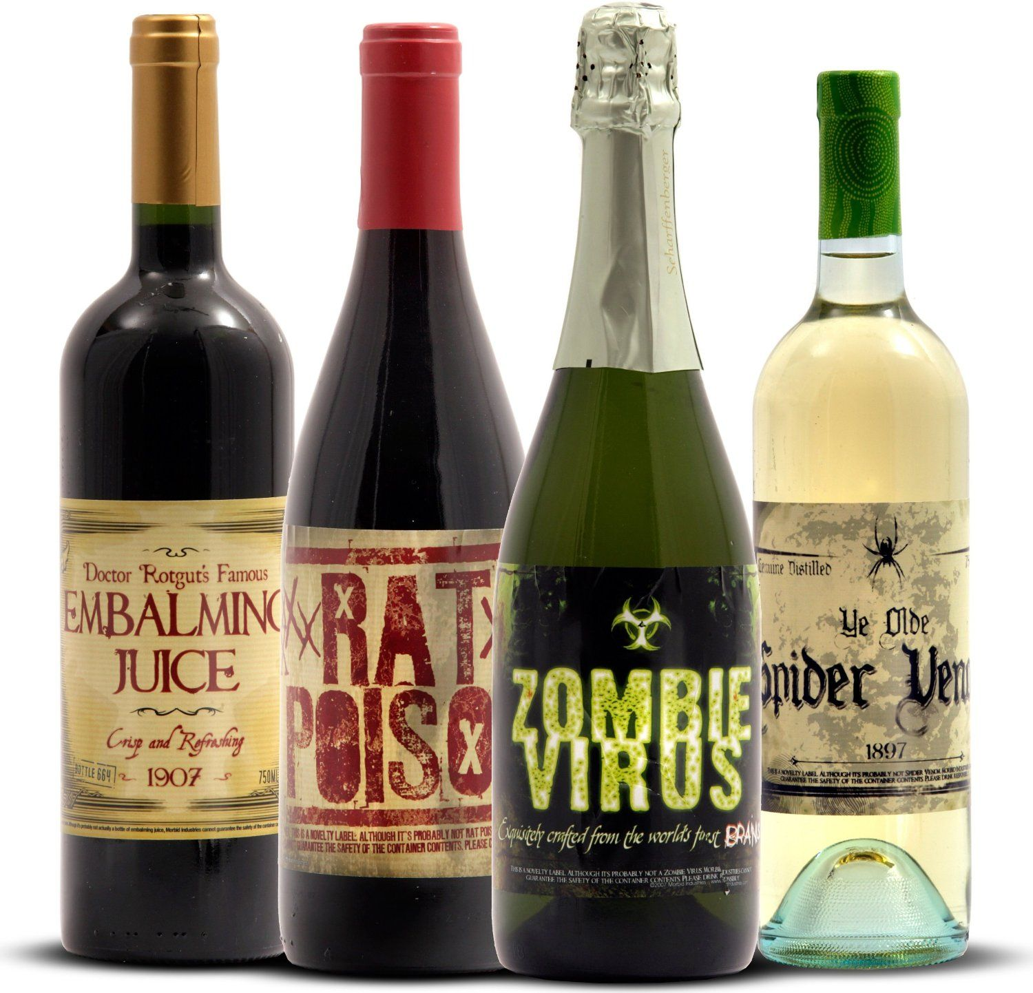 Funny and Spooky Halloween Wine Bottle Stickers - embalming juice, rat poison, zombie virus, spider venom #ad