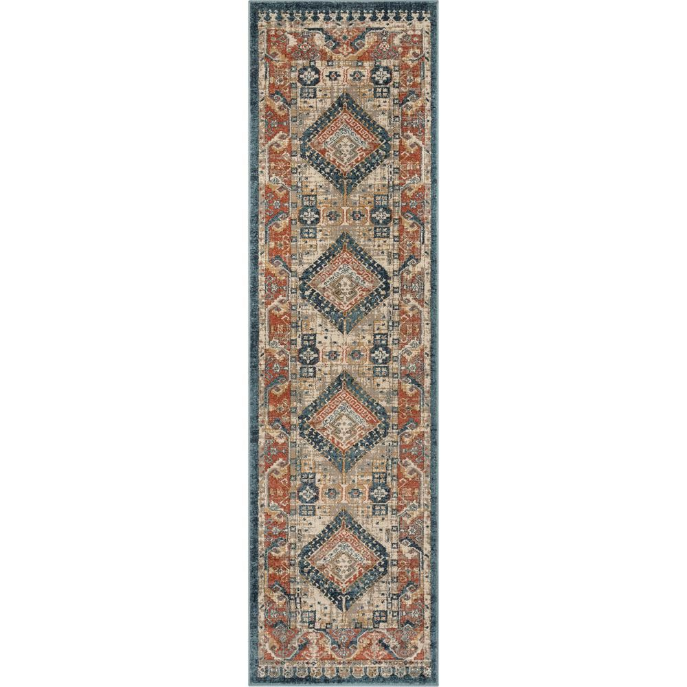 Well Woven Tikal Kata Blue Rust Vintage Medallion 2 Ft 7 In X 9 Ft 10 In Distressed Runner Rug Tk 60 2l The Home Well Woven Vintage Medallion Rug Runner