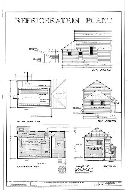 East Elevation Plan : Refrigeration plant north elevation second floor plan