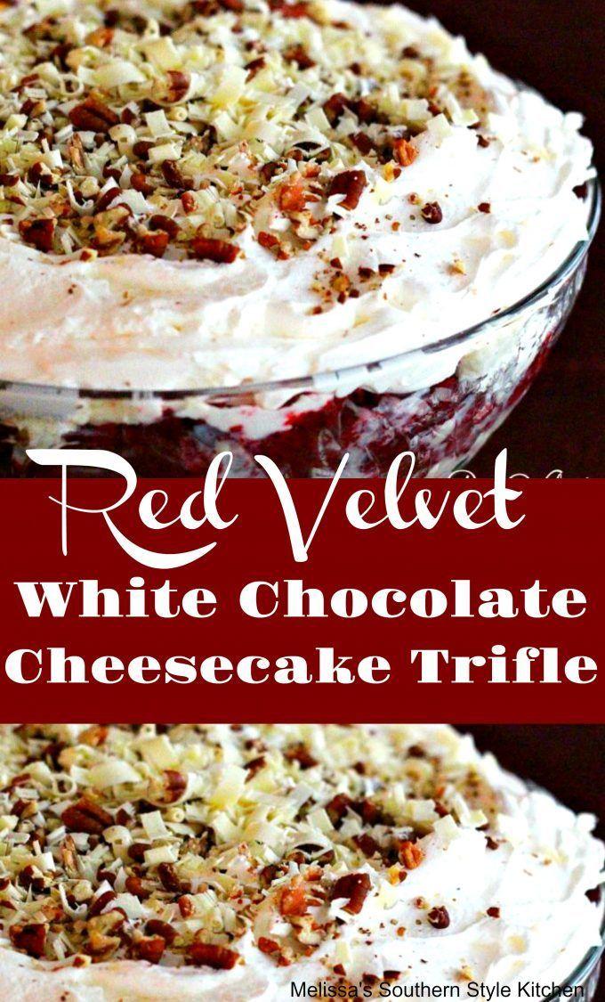 Red Velvet White Chocolate Cheesecake Trifle - melissassouthernstylekitchen.com #redvelvetcheesecake
