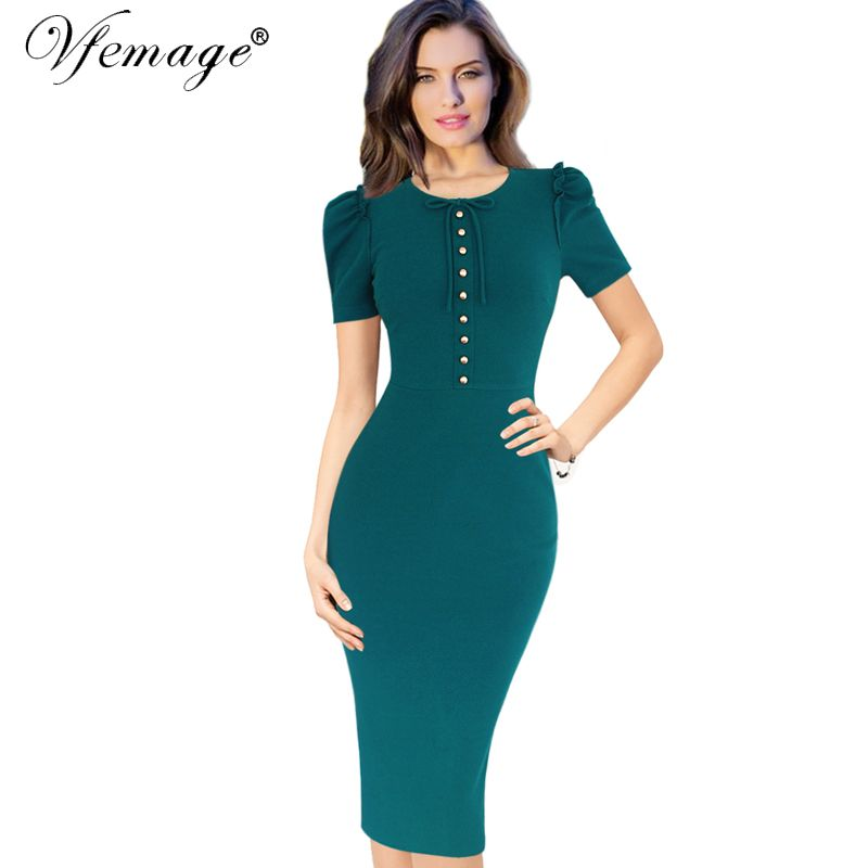 Vfemage Womens Elegant Vintage Retro Button Bowknot Casual Work Office Party Pencil Sheath Dress 4660-in Dresses from Women's Clothing & Accessories on Aliexpress.com | Alibaba Group