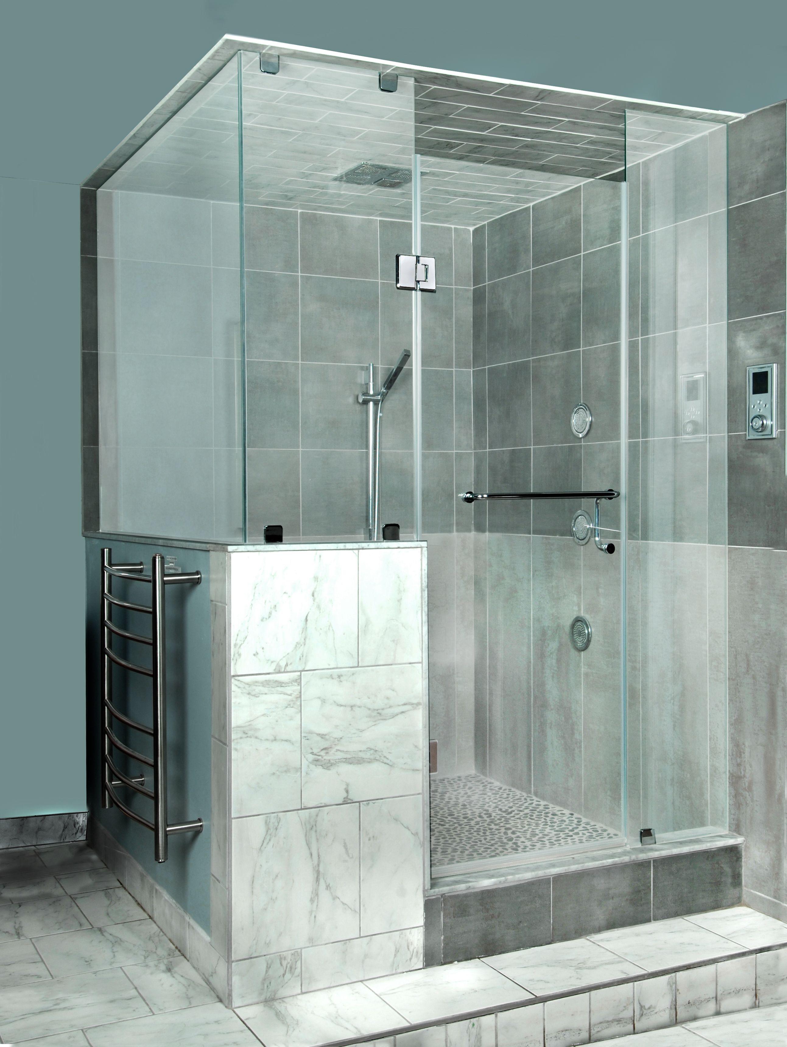 Custom Frameless Shower Corner Shower Door To Ceiling With D