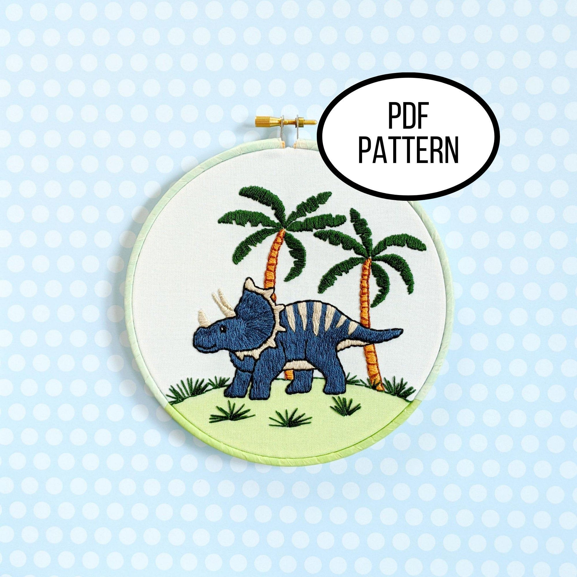 Hand Embroidery Pdf Pattern Triceratops Dinosaur Design Etsy In 2021 Printing On Fabric Hand Embroidery Diy Embroidery For Beginners