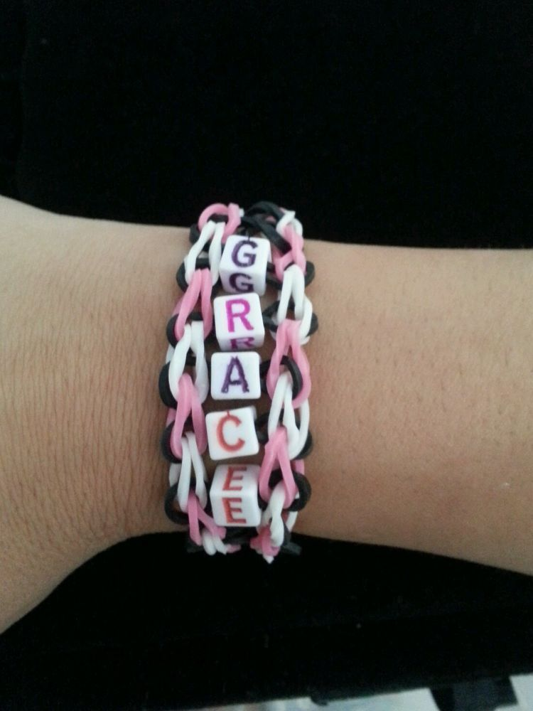 Rainbow Loom Infinity Name Bracelet Custom Made by 9 Year Old to Help Others.