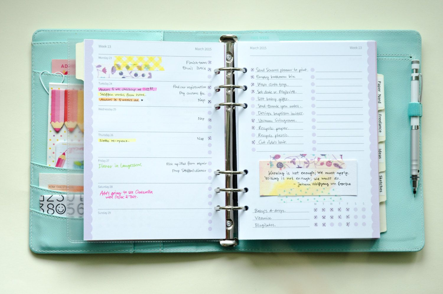 Digital · Pastel Day Planner 2015 · A5 Filofax Inserts · Printable Week on Two Pages by imapapernerd on Etsy
