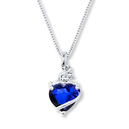 Jared Blue White LabCreated Sapphire Sterling Silver Necklace