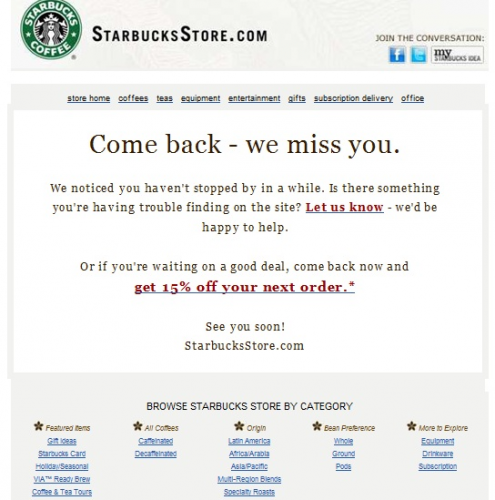 Starbucks  Winback Campaign  Email Marketing