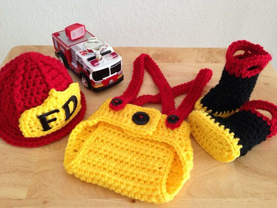 Baby Firefighter Fireman Hat Outfit 4 pc by CarynsYarnBasket 6621f2b6c3f
