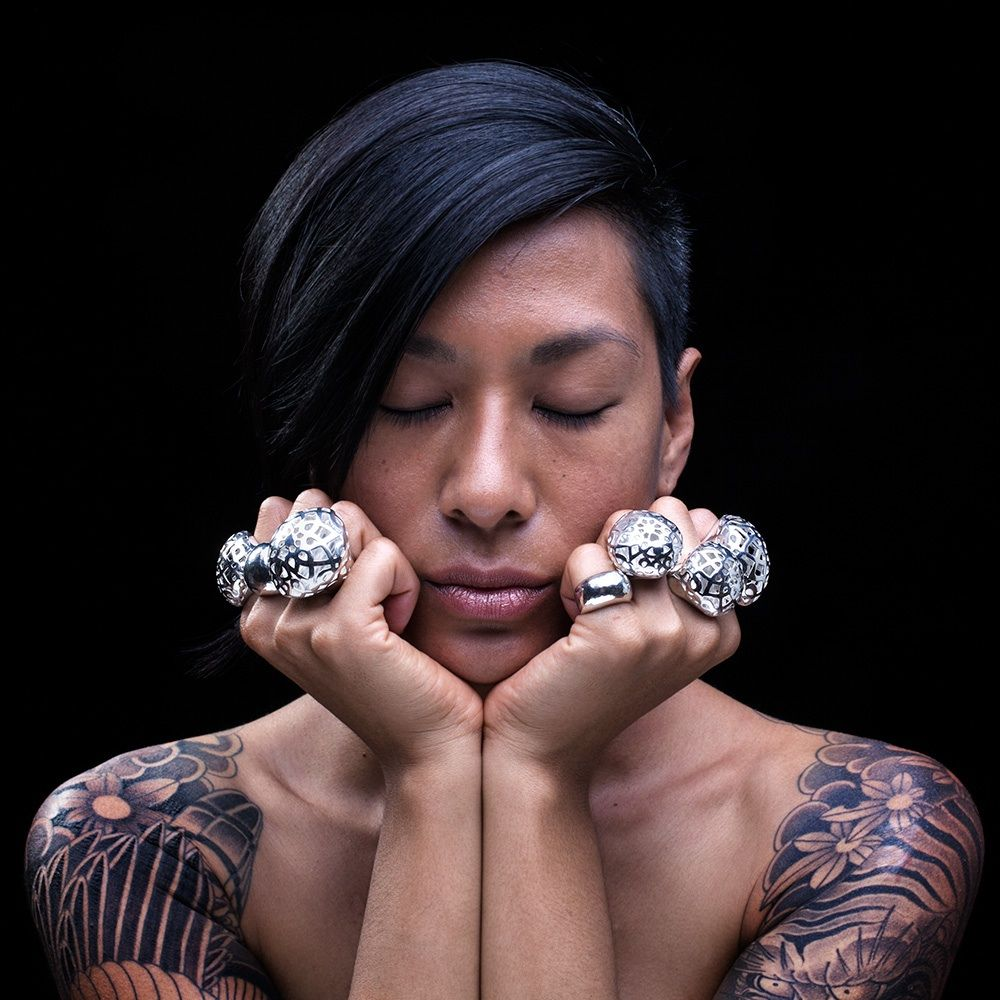 Dorine in Bouvier sterling silver rings.  Symmetry with jewels and tattoos.