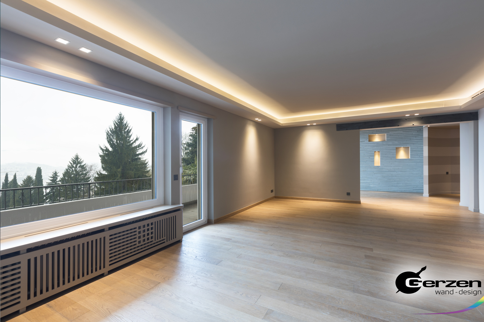 Photo of Suspended ceiling in a modern living room, wall niches with indirect lighting …