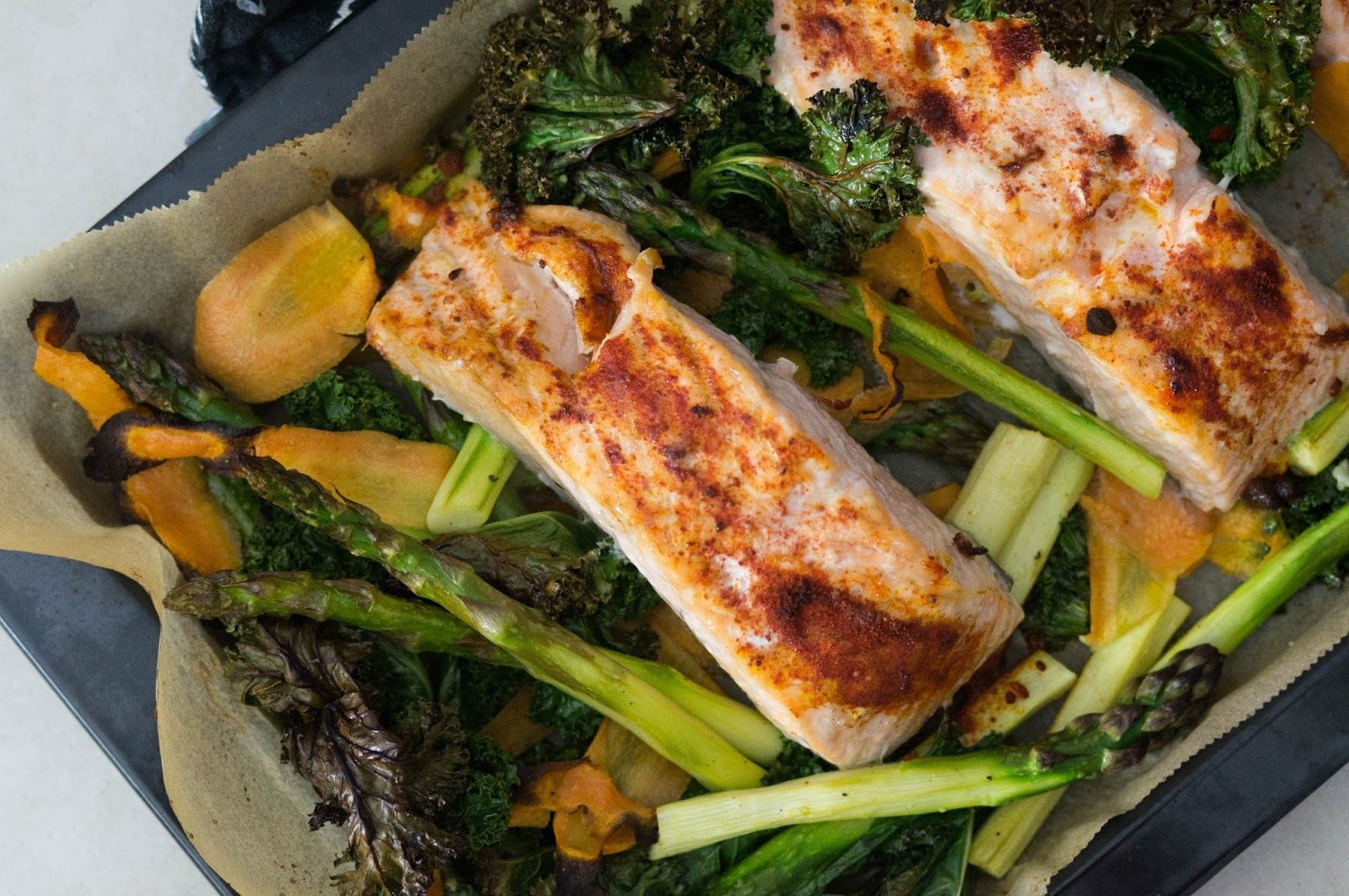Salmon, asparagus and kale