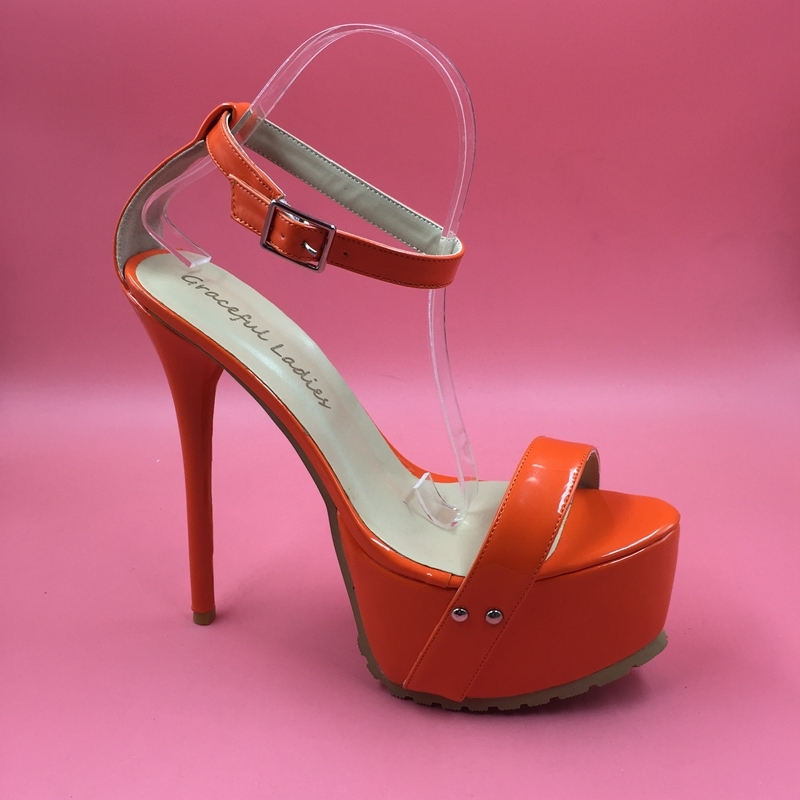 73.00$  Watch here - http://ali4i4.worldwells.pw/go.php?t=32707737885 - Orange Patent Leather Women Sandal Ankle Strap Cover Heel High Heel Stilettos Designer Women Shoes Made-to-order Plus Size 14