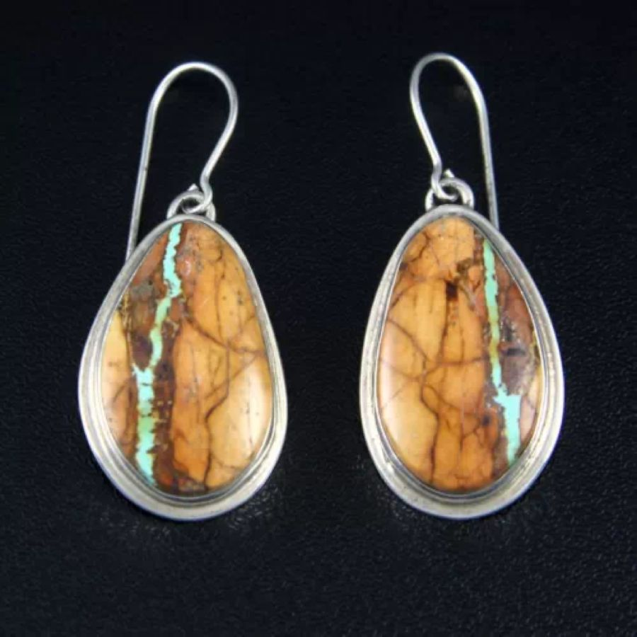 Navajo Sterling Silver Boulder Ribbon Turquoise Earrings By Margaret Platero