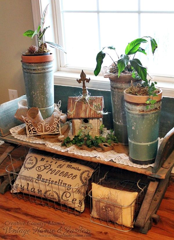 Creative Country Mom's: Country Buggy Seat - Vintage Garden Style Decorating  Love Vintage Garden Style?  Follow me at Creative Country Mom's!  ♥ www.creativecountrymom.com ♥