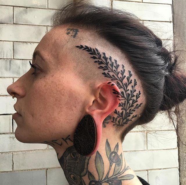 144cf251c Fern head tattoo | •Piercings/Tattoos• | Scalp tattoo, Head tattoos ...