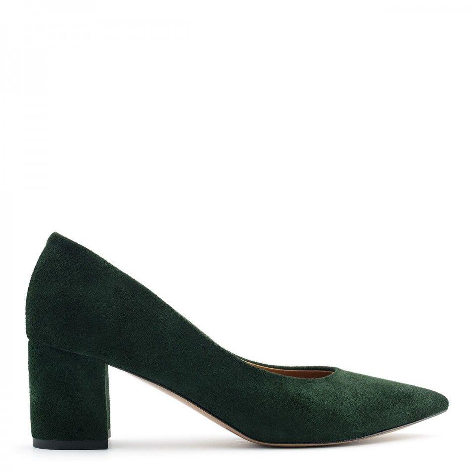 Zielone Zamszowe Czolenka Na Niskim Slupku 110c Nescior Sklep Firmowy Heels Shoes Dark Winter
