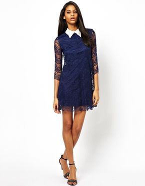Image 4 ofTFNC Lace Shift Dress With Contrast Collar