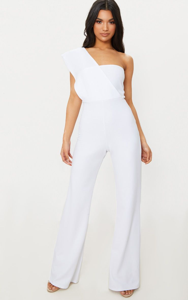 b556a1911b80 White Drape One Shoulder Jumpsuit