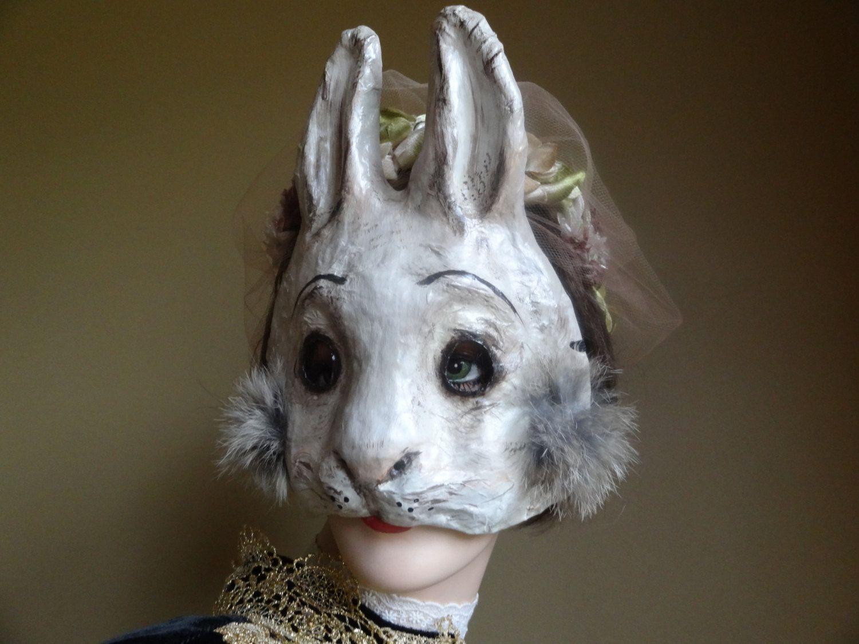Paper mache Rabbit mask Bunny mask Goat mask Cat by MiesmesaBerni ...
