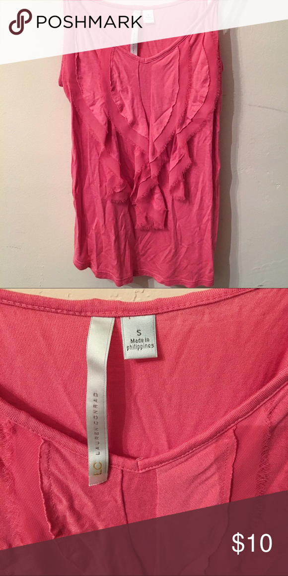 Lauren Conrad Pink Ruffle Top Like new condition! Lauren Conrad Pink Ruffle Top -- Size: Small -- Details: Adjustable straps LC Lauren Conrad Tops Tank Tops