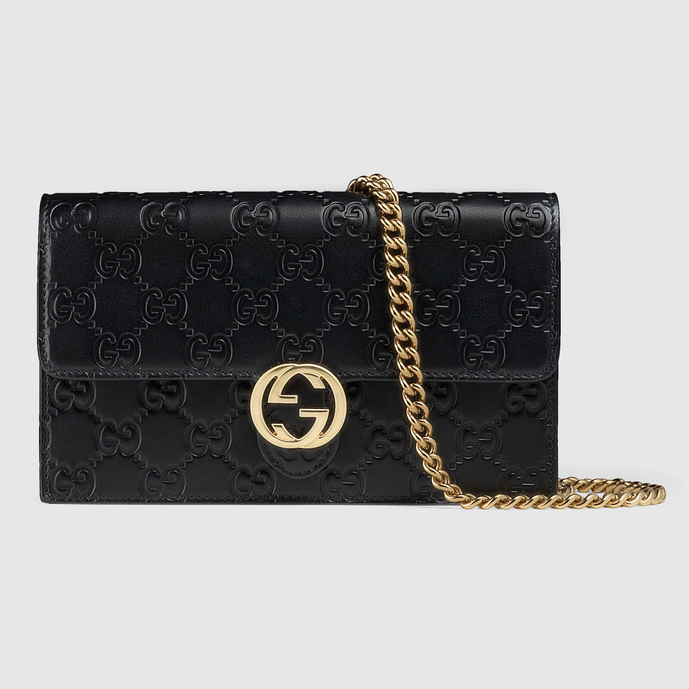 Gucci Femme - Portefeuille Gucci Icon en cuir Gucci Signature avec chaîne -  409340CWC1G1000 ee518989604