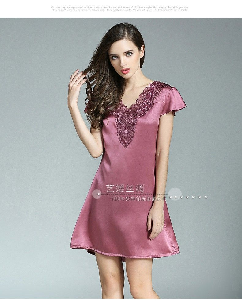 f44209238 100% Genuine Silk Nightgown Female Sexy Lace V-Neck Night Gowns Short Sleeve  Embroidery Real Silk Sleepwear S55115 - MISS LADIES