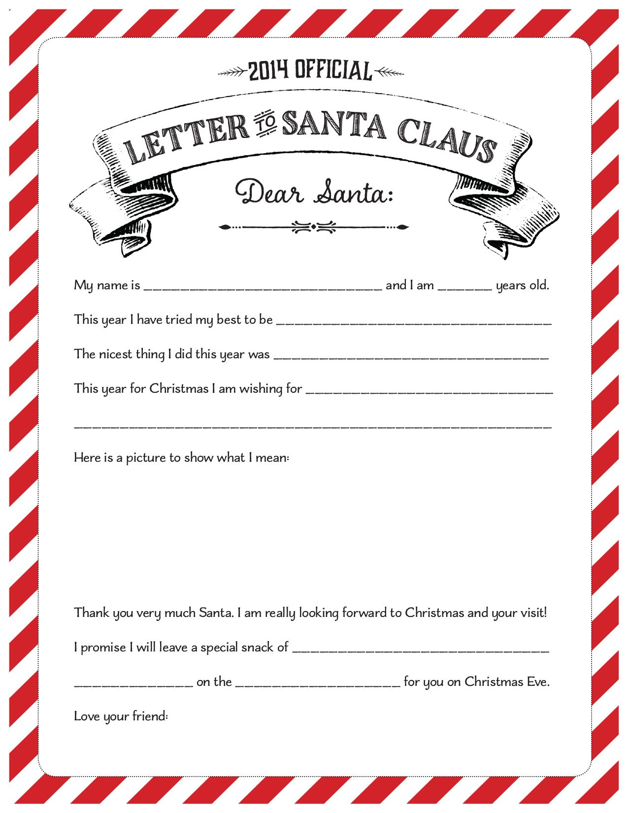 Free Printable Official Letter To Santa Claus With