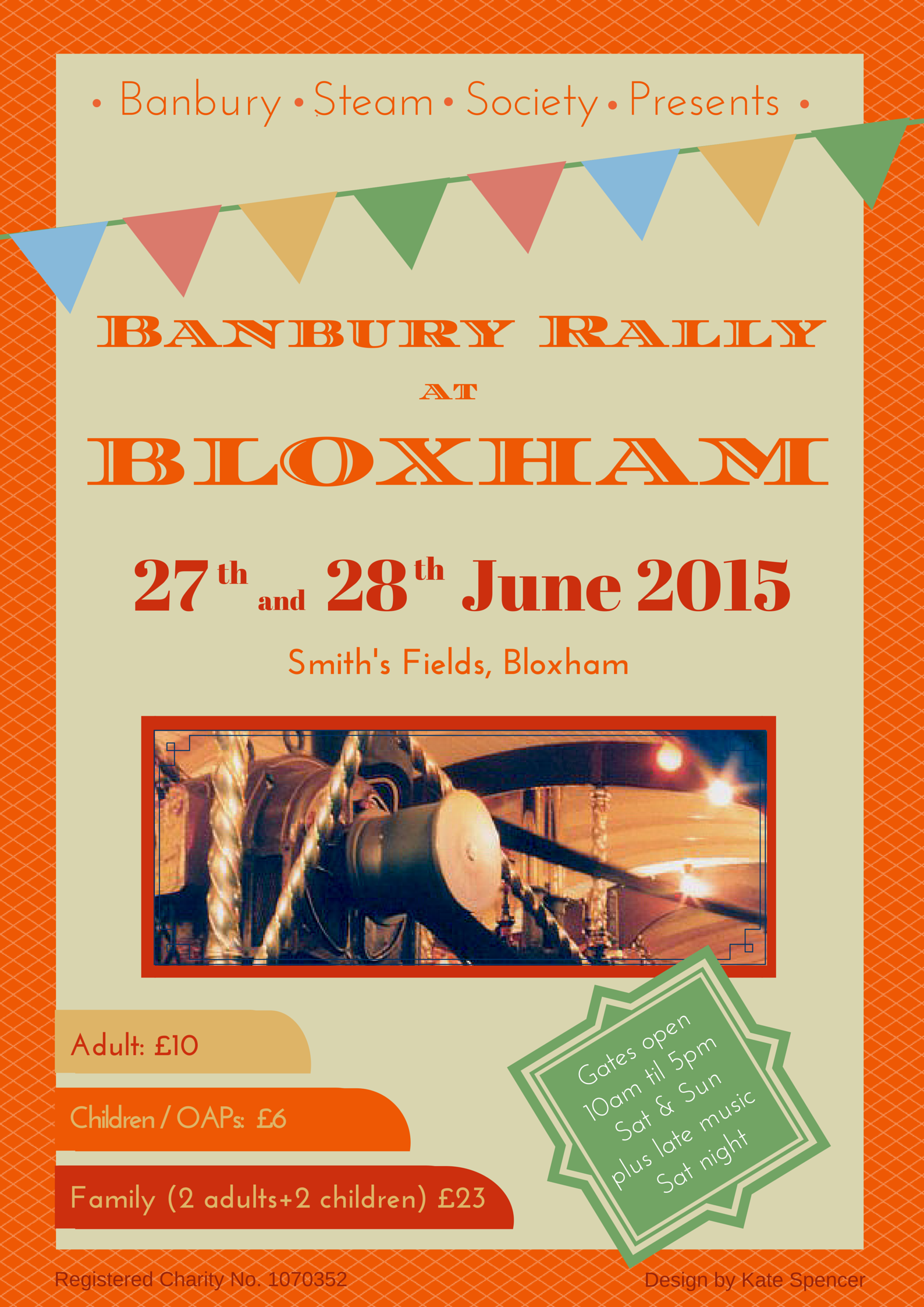 Full Steam Ahead for Banbury Rally at Bloxham! Banbury Steam Society's popular steam and vintage rally will be held on the weekend of the 27th & 28th June 2015, at the usual site - Smiths fields, Milton Road near Bloxham, Oxfordshire  Attractions include:  Fun fair Steam engines Classic cars Fairground organs  Crafts & market area Live entertainment from Dr Busker and Junction Falconry displays Red Dragon Monster Truck rides Lawnmower racing Classic motorbikes Sheep show Beer tent And more!