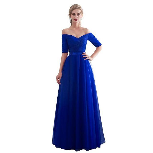 c36e94f4fb9 Royal blue Evening Dresses 2018 Long boat neck prom gown Cheap Half Sleeve  Vestido da festa fashionable formal party dress Review