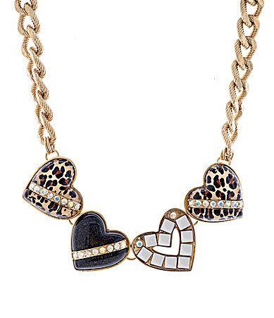 Betsey Johnson Status Multi Heart Frontal Necklace #Dillards