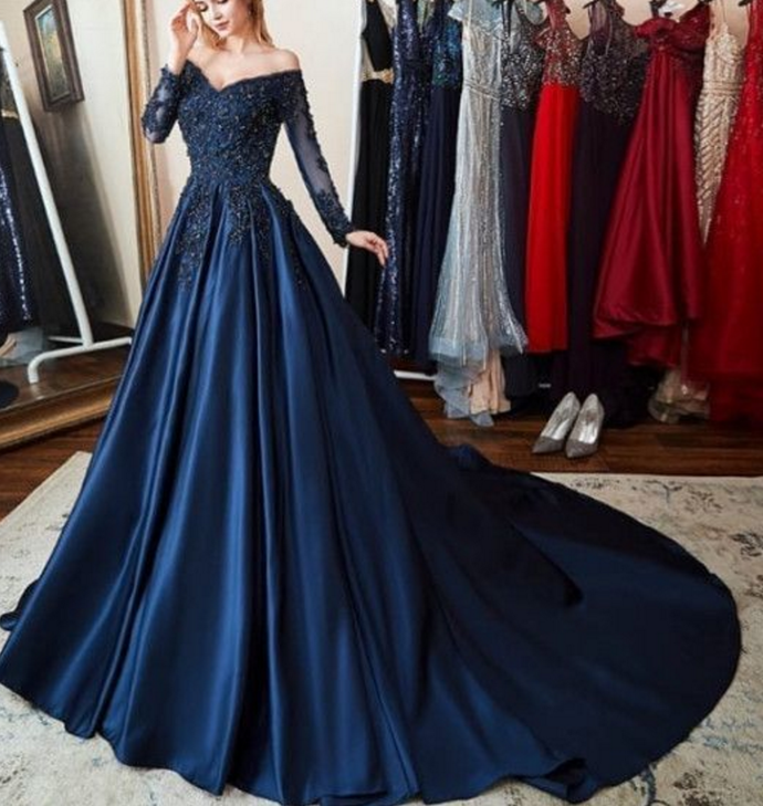Gorgeous Navy Blue Ball Gown With Long Sleeves Best For Your Prom Or Formal Evening Dress Prom Dresses Modest Prom Dresses With Sleeves Evening Dresses Long