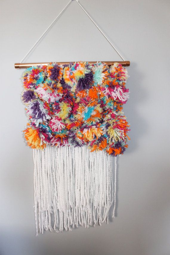 Pom Pom Wall Hanging / Weaving Wall Hanging / Hand by WeftandOlive