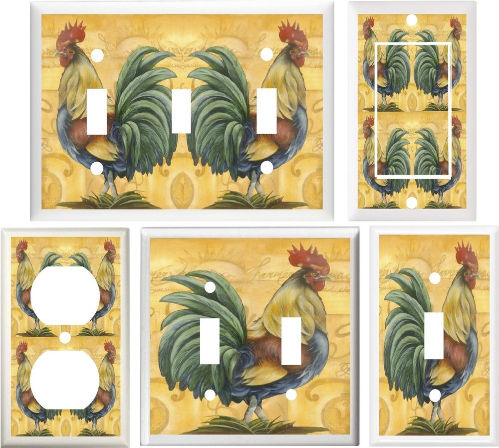 Tuscan country rooster kitchen decor light switch or outlet cover ...