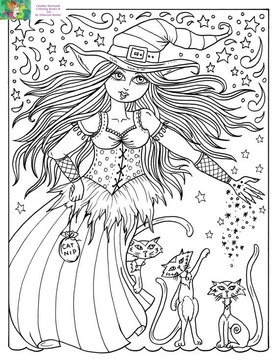 Downloadable Coloring Page Witch and Cats halloween Fun Coloring ...
