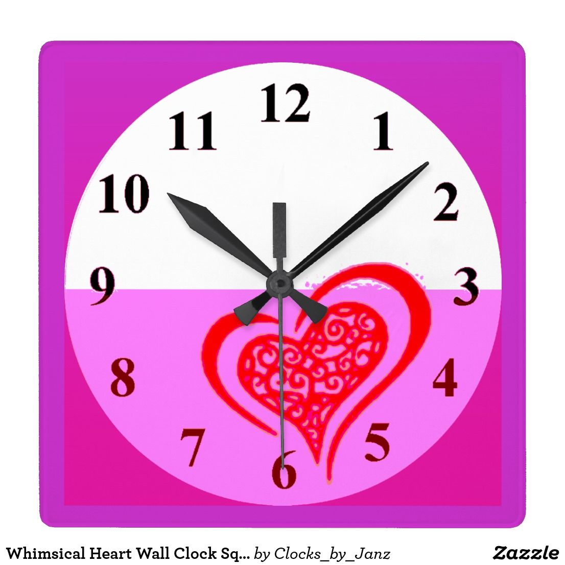 Whimsical Heart Wall Clock Square Time Clocks By Janz Pinterest