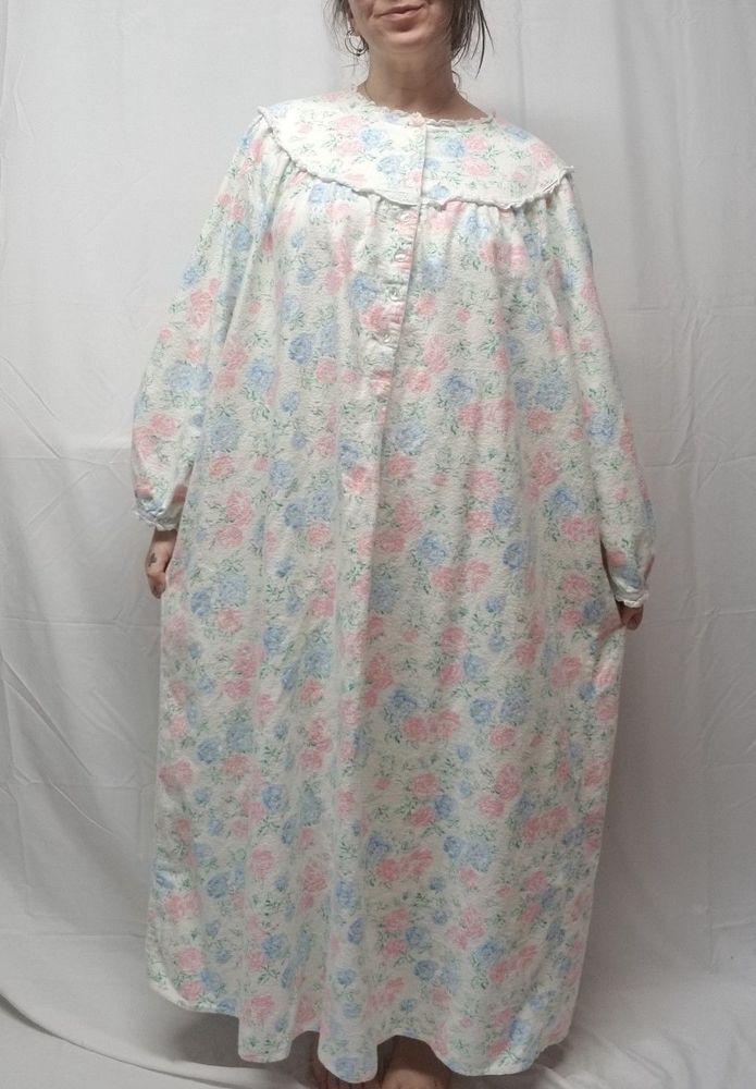 LANZ of SALZBURG 3X Cream Pink Blue Floral Flannel Nightgown Granny ...