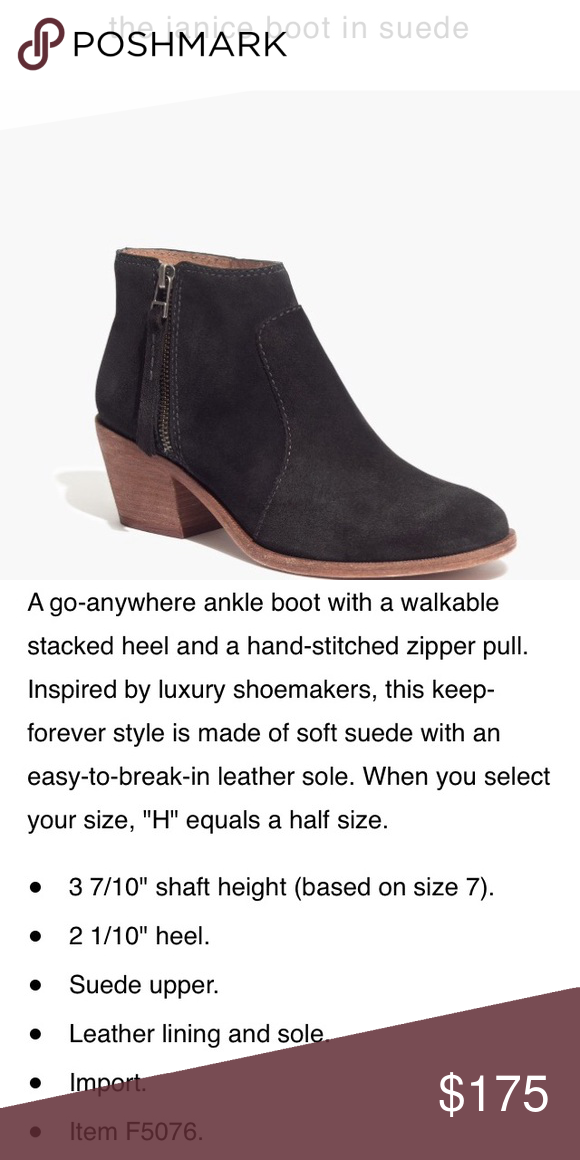 Madewell Janice black boot suede 7 1/2 New! Brand new in the box!! Madewell Shoes Ankle Boots & Booties