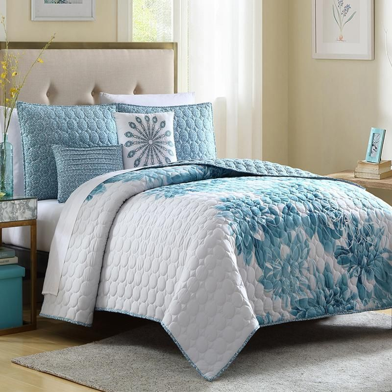 Design An Elegant Bedroom In 5 Easy Steps: Quilt Sets Brooklyn Blue 5-Piece Quilt Set Latest Bedding