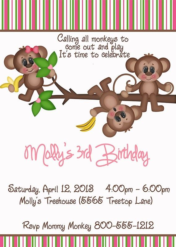 Deb's Party Designs - Monkeys Birthday Invitation, $1.00 (http://www.debspartydesigns.com/monkeys-birthday-invitation/)