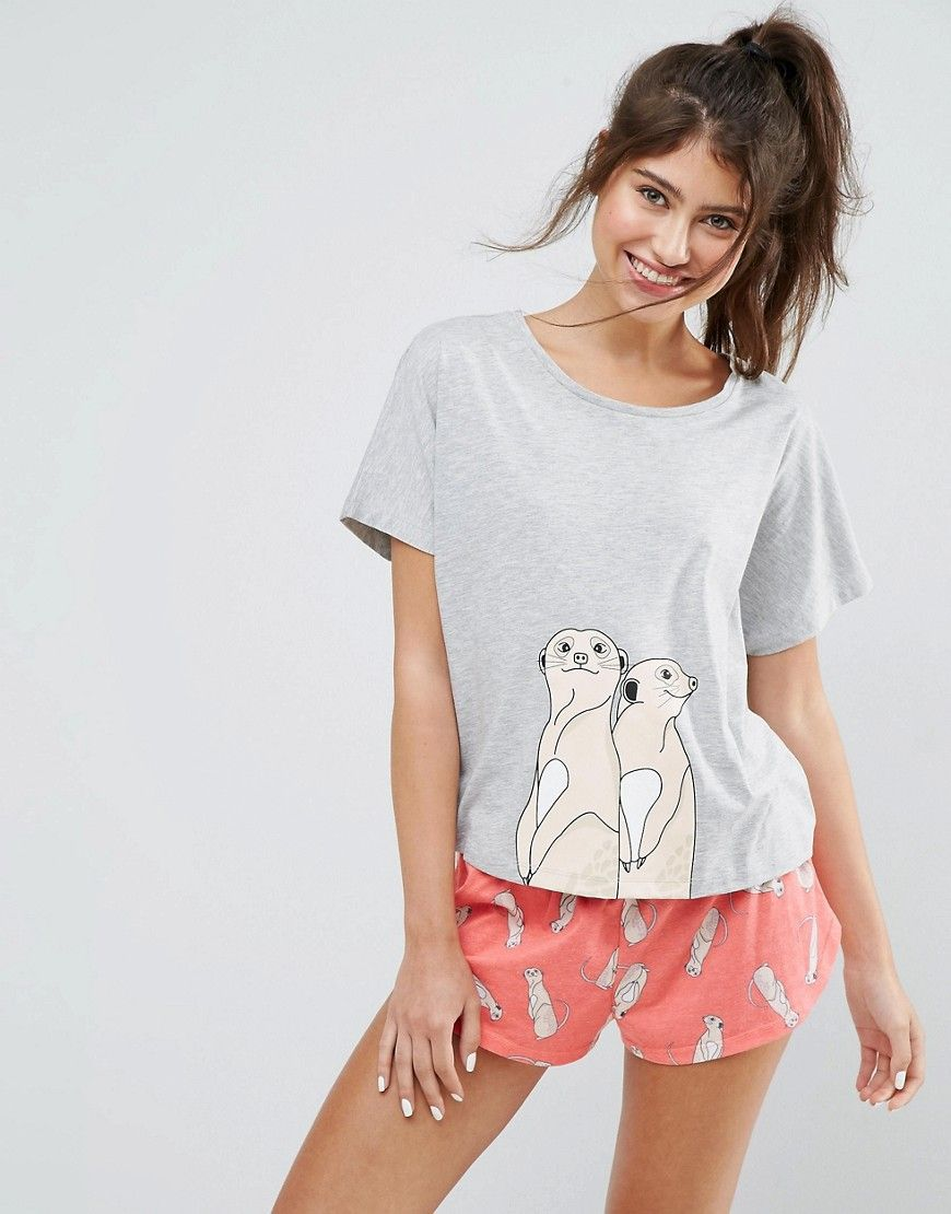 5a722b02796d0 Meerkat Tee & Short Pajama Set in 2019 | Category || Ladies PJs ...