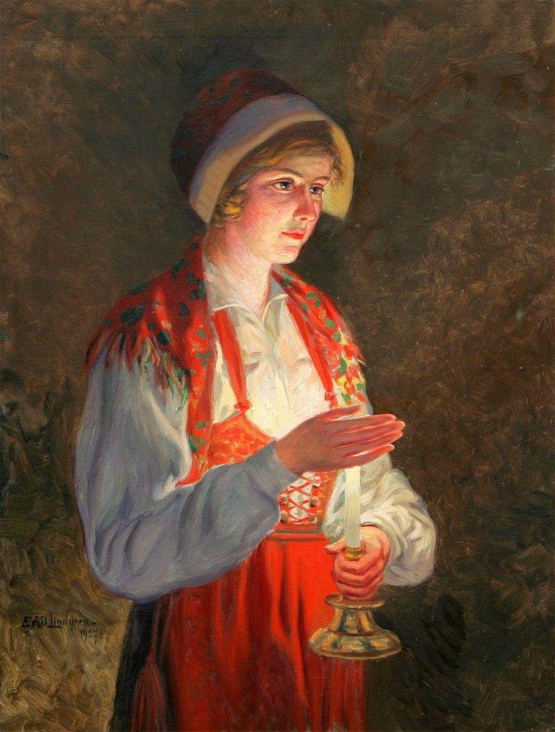 Emiel Lindgren. Pige med lampe